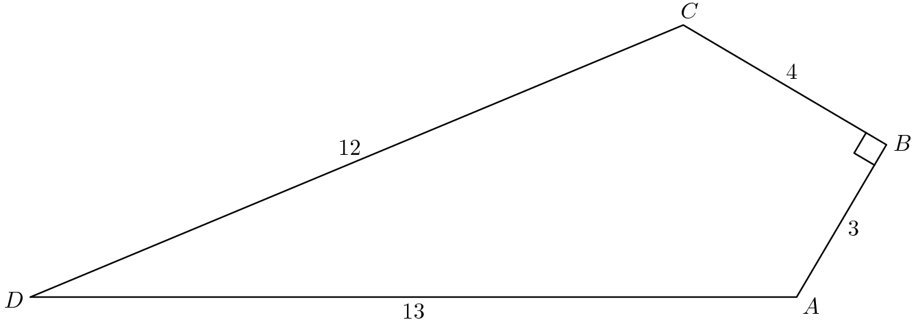 "[asy] defaultpen(linewidth(0.7)+fontsize(10)); real r=degrees((12,5)), s=degrees((3,4)); pair D=origin, A=(13,0), C=D+12*dir(r), B=A+3*dir(180-(90-r+s)); draw(A--B--C--D--cycle); markscalefactor=0.05; draw(rightanglemark(A,B,C)); pair point=incenter(A,C,D); label(""$A$"", A, dir(point--A)); label(""$B$"", B, dir(point--B)); label(""$C$"", C, dir(point--C)); label(""$D$"", D, dir(point--D)); label(""$3$"", A--B, dir(A--B)*dir(-90)); label(""$4$"", B--C, dir(B--C)*dir(-90)); label(""$12$"", C--D, dir(C--D)*dir(-90)); label(""$13$"", D--A, dir(D--A)*dir(-90));[/asy]"