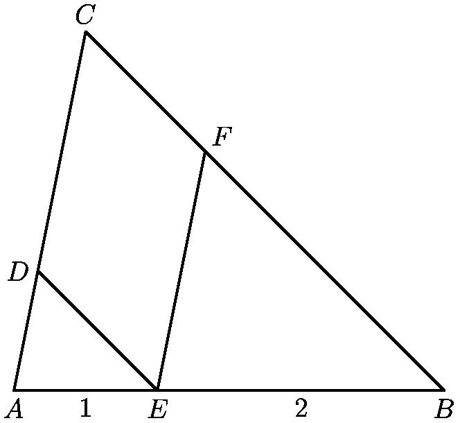 "[asy] size(7cm); pair A,B,C,DD,EE,FF; A = (0,0); B = (3,0); C = (0.5,2.5); EE = (1,0); DD = intersectionpoint(A--C,EE--EE+(C-B)); FF = intersectionpoint(B--C,EE--EE+(C-A)); draw(A--B--C--A--DD--EE--FF,black+1bp); label(""$A$"",A,S); label(""$B$"",B,S); label(""$C$"",C,N); label(""$D$"",DD,W); label(""$E$"",EE,S); label(""$F$"",FF,NE); label(""$1$"",(A+EE)/2,S); label(""$2$"",(EE+B)/2,S); [/asy]"