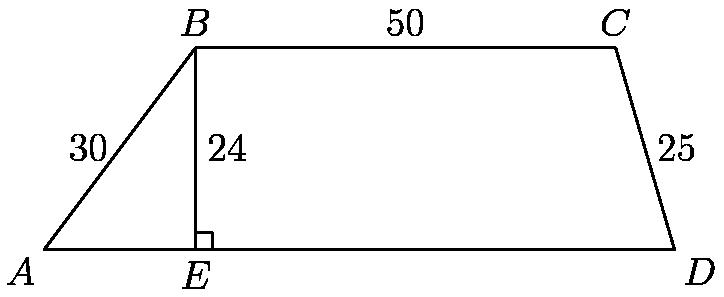 "[asy]size(3inch, 1.5inch); pair a=(0,0), b=(18,24), c=(68,24), d=(75,0), f=(68,0), e=(18,0); draw(a--b--c--d--cycle); draw(b--e); draw(shift(0,2)*e--shift(2,2)*e--shift(2,0)*e); label(""30"", (9,12), W); label(""50"", (43,24), N); label(""25"", (71.5, 12), E); label(""24"", (18, 12), E); label(""$A$"", a, SW); label(""$B$"", b, N); label(""$C$"", c, N); label(""$D$"", d, SE); label(""$E$"", e, S);[/asy]"