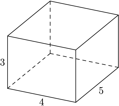 "[asy]import three; size(2inch); currentprojection=orthographic(4,2,2); draw((0,0,0)--(0,0,3),dashed); draw((0,0,0)--(0,4,0),dashed); draw((0,0,0)--(5,0,0),dashed); draw((5,4,3)--(5,0,3)--(5,0,0)--(5,4,0)--(0,4,0)--(0,4,3)--(0,0,3)--(5,0,3)); draw((0,4,3)--(5,4,3)--(5,4,0)); label(""3"",(5,0,3)--(5,0,0),W); label(""4"",(5,0,0)--(5,4,0),S); label(""5"",(5,4,0)--(0,4,0),SE); [/asy]"