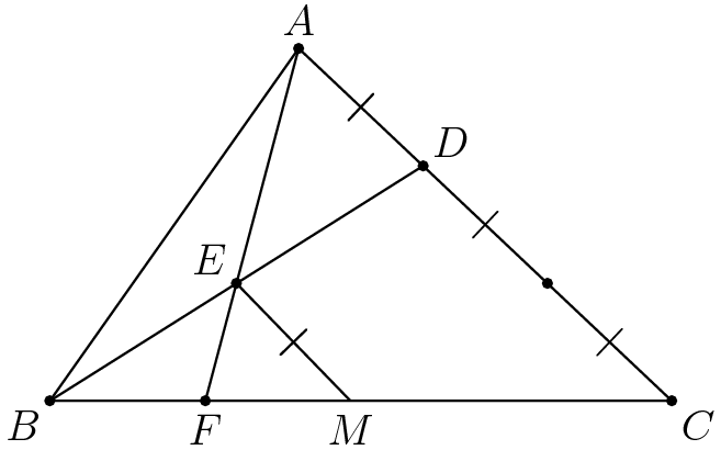 "[asy] import geometry; unitsize(2cm); pair A,B,C,DD,EE,FF, M; B = (0,0); C = (3,0); M = (1.45,0); A = (1.2,1.7); DD = (2/3)*A+(1/3)*C; EE = (B+DD)/2; FF = intersectionpoint(B--C,A--A+2*(EE-A)); draw(A--B--C--cycle); draw(A--FF);  draw(B--DD);dot(A);  label(""$A$"",A,N); dot(B);  label(""$B$"", B,SW);dot(C);  label(""$C$"",C,SE); dot(DD);  label(""$D$"",DD,NE); dot(EE);  label(""$E$"",EE,NW); dot(FF);  label(""$F$"",FF,S); draw(EE--M,StickIntervalMarker(1,1)); label(""$M$"",M,S); draw(A--DD,invisible,StickIntervalMarker(1,1)); dot((DD+C)/2); draw(DD--C,invisible,StickIntervalMarker(2,1)); [/asy]"