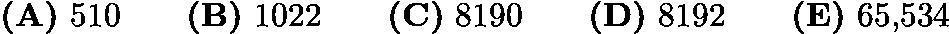$\textbf{(A)} \text{ 510} \qquad \textbf{(B)} \text{ 1022} \qquad \textbf{(C)} \text{ 8190} \qquad \textbf{(D)} \text{ 8192} \qquad \textbf{(E)} \text{ 65,534}$