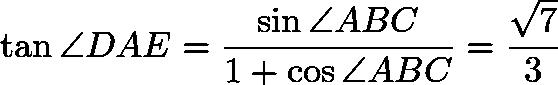 $\tan \angle DAE = \frac{\sin \angle ABC}{1 + \cos \angle ABC} = \frac{\sqrt{7}}{3}$