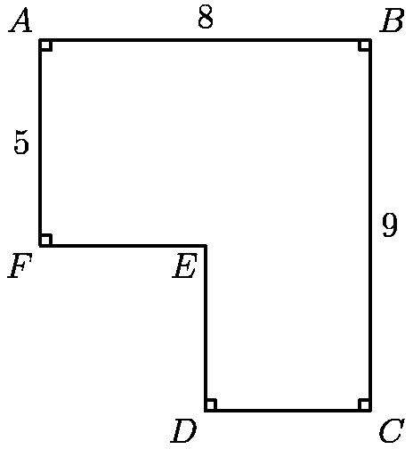 """[asy]pair a=(0,9), b=(8,9), c=(8,0), d=(4,0), e=(4,4), f=(0,4); draw(a--b--c--d--e--f--cycle); draw(shift(0,-.25)*a--shift(.25,-.25)*a--shift(.25,0)*a); draw(shift(-.25,0)*b--shift(-.25,-.25)*b--shift(0,-.25)*b); draw(shift(-.25,0)*c--shift(-.25,.25)*c--shift(0,.25)*c); draw(shift(.25,0)*d--shift(.25,.25)*d--shift(0,.25)*d); draw(shift(.25,0)*f--shift(.25,.25)*f--shift(0,.25)*f); label(""""$A$"""", a, NW); label(""""$B$"""", b, NE); label(""""$C$"""", c, SE); label(""""$D$"""", d, SW); label(""""$E$"""", e, SW); label(""""$F$"""", f, SW); label(""""5"""", (0,6.5), W); label(""""8"""", (4,9), N); label(""""9"""", (8, 4.5), E);[/asy]"""