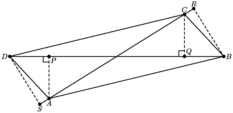 "[asy] size(350); defaultpen(linewidth(0.8)+fontsize(11)); real theta = aTan(1.25/2); pair A = 2.5*dir(180+theta), B = (3.35,0), C = -A, D = -B, P = foot(A,B,D), Q = -P, R = foot(B,A,C), S = -R; draw(A--B--C--D--A^^B--D^^R--S^^rightanglemark(A,P,D,6)^^rightanglemark(C,Q,D,6)); draw(B--R^^C--Q^^A--P^^D--S,linetype(""4 4"")); dot(""$A$"",A,dir(270)); dot(""$B$"",B,E); dot(""$C$"",C,N); dot(""$D$"",D,W); dot(""$P$"",P,SE); dot(""$Q$"",Q,NE); dot(""$R$"",R,N); dot(""$S$"",S,dir(270)); [/asy]"