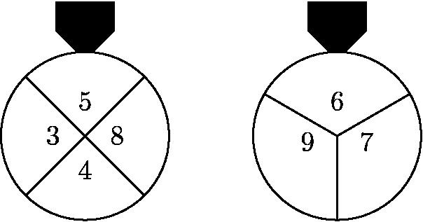 "[asy] unitsize(36); draw(circle((-3,0),1)); draw(circle((0,0),1)); draw((0,0)--dir(30)); draw((0,0)--(0,-1)); draw((0,0)--dir(150)); draw((-2.293,.707)--(-3.707,-.707)); draw((-2.293,-.707)--(-3.707,.707)); fill((-2.9,1)--(-2.65,1.25)--(-2.65,1.6)--(-3.35,1.6)--(-3.35,1.25)--(-3.1,1)--cycle,black); fill((.1,1)--(.35,1.25)--(.35,1.6)--(-.35,1.6)--(-.35,1.25)--(-.1,1)--cycle,black); label(""$5$"",(-3,.2),N); label(""$3$"",(-3.2,0),W); label(""$4$"",(-3,-.2),S); label(""$8$"",(-2.8,0),E); label(""$6$"",(0,.2),N); label(""$9$"",(-.2,.1),SW); label(""$7$"",(.2,.1),SE); [/asy]"