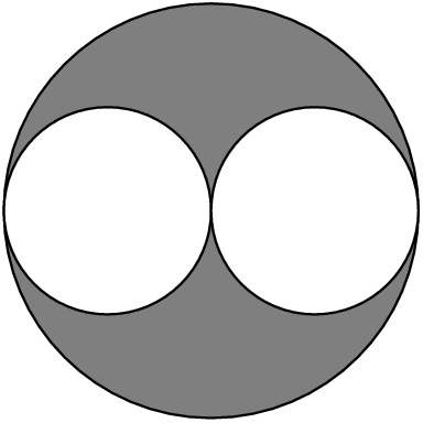 [asy] size(4cm); filldraw(scale(2)*unitcircle,gray,black); filldraw(shift(-1,0)*unitcircle,white,black); filldraw(shift(1,0)*unitcircle,white,black); [/asy]