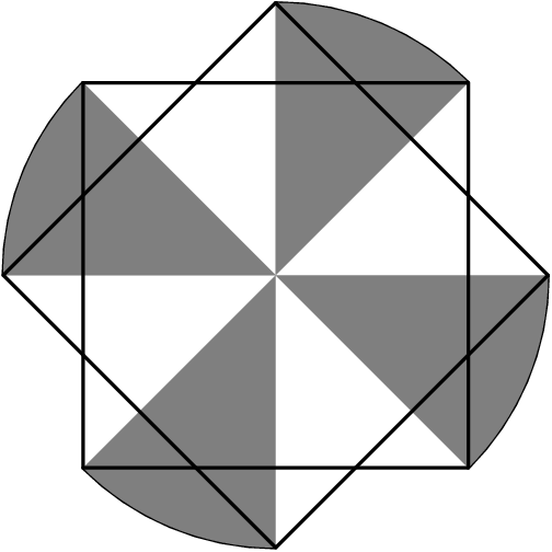 [asy] size(150);defaultpen(linewidth(0.8)); path square=shift((-.5,-.5))*unitsquare,square2=rotate(45)*square;//fill(square^^square2,grey); for(int i=0;i<=3;i=i+1){path arcrot=arc(origin,sqrt(2)/2,45+90*i,90*(i+1));draw(arcrot); fill(arcrot--(0,0)--cycle,grey);} //draw(arc(origin,sqrt(2)/2+1/8,50+90*i,90*(i+1)-10),EndArrow);} draw(square^^square2); //draw((-.5,.5)--(.5,-.5)^^(0,sqrt(.5))--(0,-sqrt(.5)),dotted);draw((.5,.5)--(-.5,-.5),dotted); [/asy]