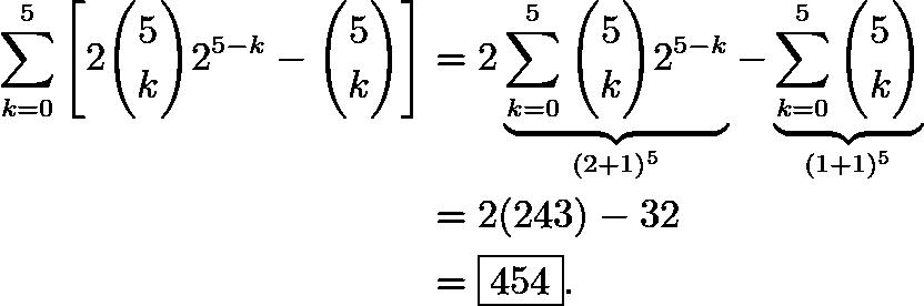 \begin{align*} \sum_{k=0}^{5}\left[2\binom{5}{k}2^{5-k}-\binom{5}{k}\right] &= 2\underbrace{\sum_{k=0}^{5}\binom{5}{k}2^{5-k}}_{(2+1)^5}-\underbrace{\sum_{k=0}^{5}\binom{5}{k}}_{(1+1)^5} \\ &=2(243)-32 \\ &=\boxed{454}. \end{align*}