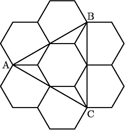 "[asy] for(int i = 0; i < 6; ++i){ for(int j = 0; j < 6; ++j){ draw(sqrt(3)*dir(60*i+30)+dir(60*j)--sqrt(3)*dir(60*i+30)+dir(60*j+60)); } } draw(2*dir(60)--2*dir(180)--2*dir(300)--cycle); label(""A"",2*dir(180),dir(180)); label(""B"",2*dir(60),dir(60)); label(""C"",2*dir(300),dir(300)); [/asy]"