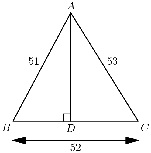 "[asy] draw((0,0)--(52,0)--(24,sqrt(3)*26)--cycle); draw((24,0)--(24,sqrt(3)*26)); draw((0,-8)--(52,-8),arrow=Arrow()); draw((52,-8)--(0,-8),arrow=Arrow()); draw((24,3)--(21,3)--(21,0),black); MP(""B"",(0,0),SW);MP(""A"",(24,sqrt(3)*26),N);MP(""C"",(52,0),SE);MP(""D"",(24,0),S); MP(""52"",(26,-8),S);MP(""53"",(38,sqrt(3)*13),NE);MP(""51"",(12,sqrt(3)*13),NW); [/asy]"