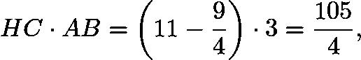 $HC\cdot AB=\left(11-\frac94\right)\cdot3=\frac{105}{4},$