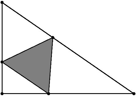 [asy] size(5cm); pair C=(0,0),B=(0,2*sqrt(3)),A=(5,0); real t = .385, s = 3.5*t-1; pair R = A*t+B*(1-t), P=B*s; pair Q = dir(-60) * (R-P) + P; fill(P--Q--R--cycle,gray); draw(A--B--C--A^^P--Q--R--P); dot(A--B--C--P--Q--R); [/asy]