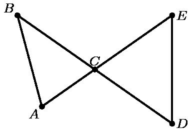 """[asy] unitsize(2cm); defaultpen(linewidth(.8pt)+fontsize(8pt)); dotfactor=4; pair C=(0,0), Ep=dir(35), D=dir(-35), B=dir(145); pair A=intersectionpoints(Circle(B,1),C--(-1*Ep))[0]; pair[] ds={A,B,C,D,Ep}; dot(ds); draw(A--Ep--D--B--cycle); label(""""$A$"""",A,SW); label(""""$B$"""",B,NW); label(""""$C$"""",C,N); label(""""$E$"""",Ep,E); label(""""$D$"""",D,E); [/asy]"""