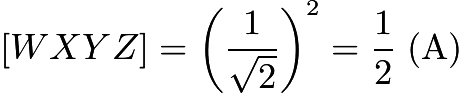 $[WXYZ] = \left(\frac{1}{\sqrt{2}}\right)^2 = \frac 12\ \mathrm{(A)}$