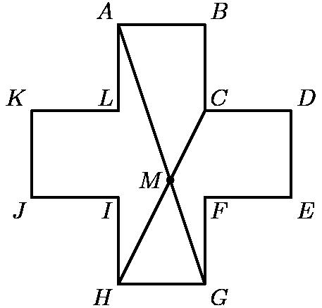 "[asy] unitsize(13mm); defaultpen(linewidth(.8pt)+fontsize(10pt)); dotfactor=4; pair A=(1,3), B=(2,3), C=(2,2), D=(3,2), Ep=(3,1), F=(2,1), G=(2,0), H=(1,0), I=(1,1), J=(0,1), K=(0,2), L=(1,2); pair M=intersectionpoints(A--G,H--C)[0]; draw(A--B--C--D--Ep--F--G--H--I--J--K--L--cycle); draw(A--G); draw(H--C); dot(M); label(""$A$"",A,NW); label(""$B$"",B,NE); label(""$C$"",C,NE); label(""$D$"",D,NE); label(""$E$"",Ep,SE); label(""$F$"",F,SE); label(""$G$"",G,SE); label(""$H$"",H,SW); label(""$I$"",I,SW); label(""$J$"",J,SW); label(""$K$"",K,NW); label(""$L$"",L,NW); label(""$M$"",M,W); [/asy]"