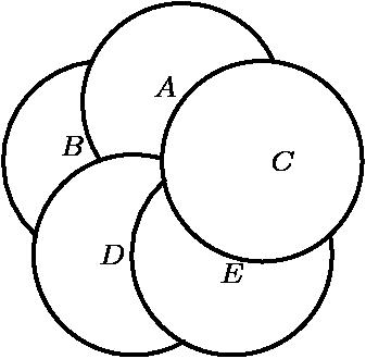 """[asy] size(100); defaultpen(linewidth(.8pt)+fontsize(8pt)); draw(arc((0,1), 1.2, 25, 214)); draw(arc((.951,.309), 1.2, 0, 360)); draw(arc((.588,-.809), 1.2, 132, 370)); draw(arc((-.588,-.809), 1.2, 75, 300)); draw(arc((-.951,.309), 1.2, 96, 228)); label(""""$A$"""",(0,1),NW); label(""""$B$"""",(-1.1,.309),NW); label(""""$C$"""",(.951,.309),E); label(""""$D$"""",(-.588,-.809),W); label(""""$E$"""",(.588,-.809),S);[/asy]"""