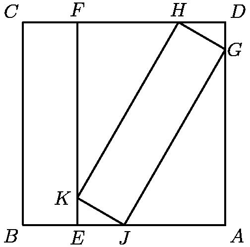 "[asy] pair A=(1,0), B=(0,0), C=(0,1), D=(1,1), E=(2-sqrt(3),0), F=(2-sqrt(3),1), G=(1,sqrt(3)/2), H=(2.5-sqrt(3),1), J=(.5,0), K=(2-sqrt(3),1-sqrt(3)/2); draw(A--B--C--D--cycle); draw(K--H--G--J--cycle); draw(F--E); label(""$A$"",A,SE); label(""$B$"",B,SW); label(""$C$"",C,NW); label(""$D$"",D,NE); label(""$E$"",E,S); label(""$F$"",F,N); label(""$G$"",G,E); label(""$H$"",H,N); label(""$J$"",J,S); label(""$K$"",K,W); [/asy]"