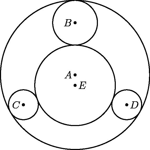 """[asy] unitsize(3mm); defaultpen(linewidth(.8pt)); dotfactor=4; pair A=(0,0), D=8*dir(330), C=8*dir(210), B=7*dir(90); pair Ep=(0,4-27/5); pair[] dotted={A,B,C,D,Ep}; draw(Circle(A,10)); draw(Circle(B,3)); draw(Circle(C,2)); draw(Circle(D,2)); draw(Circle(Ep,27/5)); dot(dotted); label(""""$E$"""",Ep,E); label(""""$A$"""",A,W); label(""""$B$"""",B,W); label(""""$C$"""",C,W); label(""""$D$"""",D,E); [/asy]"""