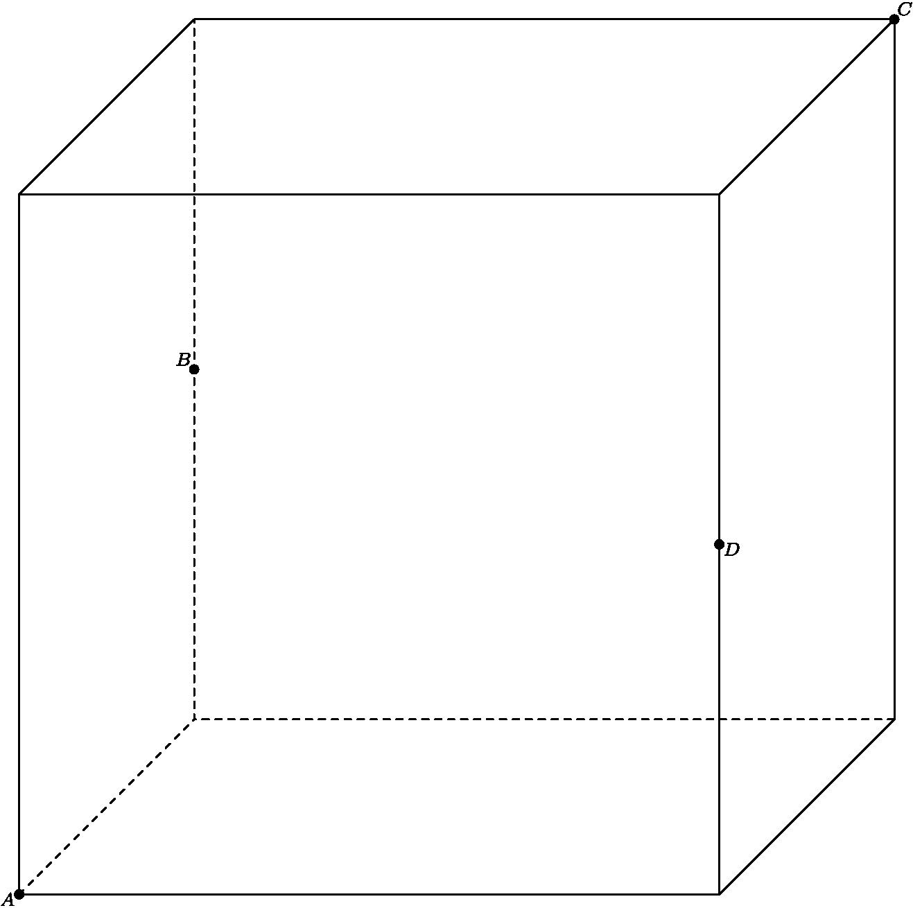 "[asy] import three; unitsize(3cm); defaultpen(fontsize(8)+linewidth(0.7)); currentprojection=obliqueX; draw((0.5,0,0)--(0,0,0)--(0,0,1)--(0,0,0)--(0,1,0),linetype(""4 4"")); draw((0.5,0,1)--(0,0,1)--(0,1,1)--(0.5,1,1)--(0.5,0,1)--(0.5,0,0)--(0.5,1,0)--(0.5,1,1)); draw((0.5,1,0)--(0,1,0)--(0,1,1)); dot((0.5,0,0)); label(""$A$"",(0.5,0,0),WSW); dot((0,1,1)); label(""$C$"",(0,1,1),NE); dot((0.5,1,0.5)); label(""$D$"",(0.5,1,0.5),ESE); dot((0,0,0.5)); label(""$B$"",(0,0,0.5),NW);[/asy]"