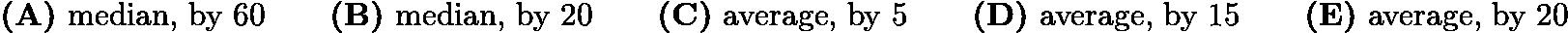 $\textbf{(A)}\ \text{median, by 60} \qquad \textbf{(B)}\ \text{median, by 20} \qquad \textbf{(C)}\ \text{average, by 5} \qquad \textbf{(D)}\ \text{average, by 15} \qquad \textbf{(E)}\ \text{average, by 20}$