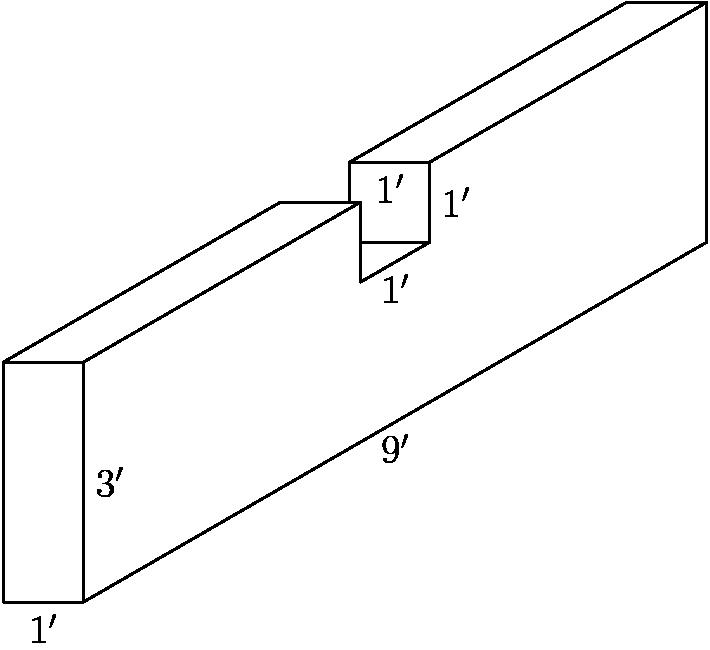 """[asy] unitsize(24); draw((0,0)--(1,0)--(1,3)--(0,3)--cycle); draw((1,0)--(1+9*sqrt(3)/2,9/2)--(1+9*sqrt(3)/2,15/2)--(1+5*sqrt(3)/2,11/2)--(1+5*sqrt(3)/2,9/2)--(1+2*sqrt(3),4)--(1+2*sqrt(3),5)--(1,3)); draw((0,3)--(2*sqrt(3),5)--(1+2*sqrt(3),5)); draw((1+9*sqrt(3)/2,15/2)--(9*sqrt(3)/2,15/2)--(5*sqrt(3)/2,11/2)--(5*sqrt(3)/2,5)); draw((1+5*sqrt(3)/2,9/2)--(1+2*sqrt(3),9/2)); draw((1+5*sqrt(3)/2,11/2)--(5*sqrt(3)/2,11/2)); label(""""$1'$"""",(.5,0),S); label(""""$3'$"""",(1,1.5),E); label(""""$9'$"""",(1+9*sqrt(3)/4,9/4),S); label(""""$1'$"""",(1+9*sqrt(3)/4,17/4),S); label(""""$1'$"""",(1+5*sqrt(3)/2,5),E);label(""""$1'$"""",(1/2+5*sqrt(3)/2,11/2),S); [/asy]"""