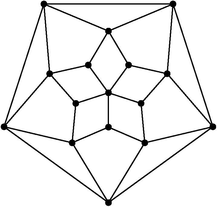 [asy] import cse5; unitsize(6mm); defaultpen(linewidth(.8pt)); dotfactor = 8; pathpen=black; pair A = (0,0); pair B = 2*dir(54), C = 2*dir(126), D = 2*dir(198), E = 2*dir(270), F = 2*dir(342); pair G = 3.6*dir(18), H = 3.6*dir(90), I = 3.6*dir(162), J = 3.6*dir(234), K = 3.6*dir(306); pair M = 6.4*dir(54), N = 6.4*dir(126), O = 6.4*dir(198), P = 6.4*dir(270), L = 6.4*dir(342); pair[] dotted = {A,B,C,D,E,F,G,H,I,J,K,L,M,N,O,P}; D(A--B--H--M); D(A--C--H--N); D(A--F--G--L); D(A--E--K--P); D(A--D--J--O); D(B--G--M); D(F--K--L); D(E--J--P); D(O--I--D); D(C--I--N); D(L--M--N--O--P--L); dot(dotted); [/asy]
