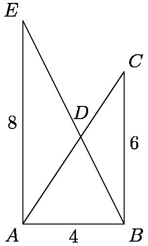 "[asy] size(150); defaultpen(linewidth(0.4)); //Variable Declarations pair A, B, C, D, E; //Variable Definitions A=(0, 0); B=(4, 0); C=(4, 6); E=(0, 8); D=extension(A,C,B,E); //Initial Diagram draw(A--B--C--A--E--B); label(""$A$"",A,SW); label(""$B$"",B,SE); label(""$C$"",C,NE); label(""$D$"",D,3N); label(""$E$"",E,NW); //Side labels label(""$4$"",A--B,S); label(""$8$"",A--E,W); label(""$6$"",B--C,ENE); [/asy]"