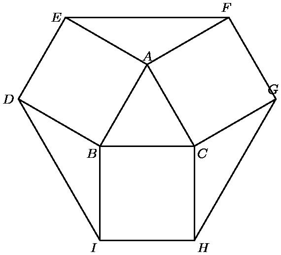 "[asy] import graph; size(6cm); pen dps = linewidth(0.7) + fontsize(8); defaultpen(dps); pair B = (0,0); pair C = (1,0); pair A = rotate(60,B)*C; pair E = rotate(270,A)*B; pair D = rotate(270,E)*A; pair F = rotate(90,A)*C; pair G = rotate(90,F)*A; pair I = rotate(270,B)*C; pair H = rotate(270,I)*B; draw(A--B--C--cycle); draw(A--E--D--B); draw(A--F--G--C); draw(B--I--H--C); draw(E--F); draw(D--I); draw(I--H); draw(H--G); label(""$A$"",A,N); label(""$B$"",B,SW); label(""$C$"",C,SE); label(""$D$"",D,W); label(""$E$"",E,W); label(""$F$"",F,E); label(""$G$"",G,E); label(""$H$"",H,SE); label(""$I$"",I,SW); [/asy]"