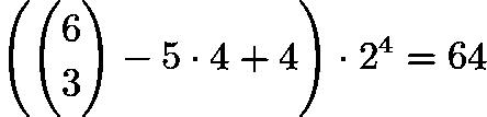 $\left(\binom{6}{3} - 5 \cdot 4 + 4\right) \cdot 2^4 = 64$