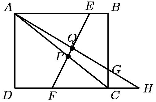 """[asy]  pair A1=(2,0),A2=(4,4); pair B1=(0,4),B2=(5,1); pair C1=(5,0),C2=(0,4);  pair H = (20/3,0); draw(A1--A2); draw(B1--B2); draw(C1--C2); draw(B1--H); draw((0,0)--H); draw((0,0)--B1--(5,4)--C1--cycle); dot((20/7,12/7)); dot((3.07692307692,2.15384615384)); label(""""$Q$"""",(3.07692307692,2.15384615384),N); label(""""$P$"""",(20/7,12/7),W); label(""""$A$"""",(0,4), NW); label(""""$B$"""",(5,4), NE); label(""""$C$"""",(5,0),SE); label(""""$D$"""",(0,0),SW); label(""""$F$"""",(2,0),S); label(""""$G$"""",(5,1),E); label(""""$E$"""",(4,4),N); label(""""$H$"""",H,E);   [/asy]"""