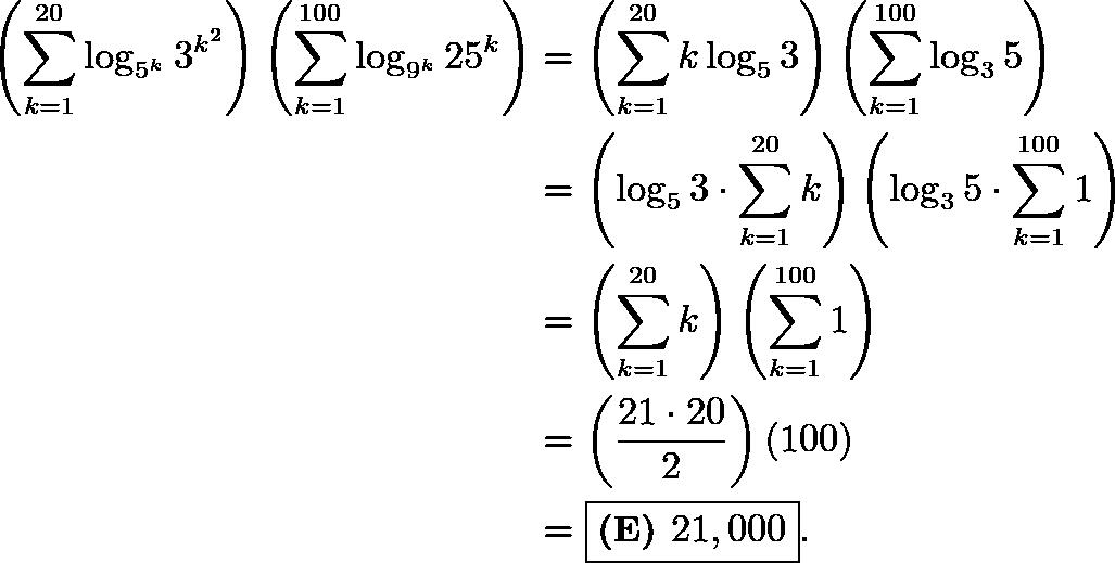 \begin{align*} \left(\sum_{k=1}^{20} \log_{5^k} 3^{k^2}\right)\left(\sum_{k=1}^{100} \log_{9^k} 25^k\right)&=\left(\sum_{k=1}^{20} k\log_{5}{3}\right)\left(\sum_{k=1}^{100} \log_{3}{5}\right) \\ &= \left(\log_{5}{3}\cdot\sum_{k=1}^{20} k\right)\left(\log_{3}{5}\cdot\sum_{k=1}^{100} 1\right) \\ &= \left(\sum_{k=1}^{20} k\right)\left(\sum_{k=1}^{100} 1\right) \\ &= \left(\frac{21\cdot20}{2}\right)\left(100\right) \\ &= \boxed{\textbf{(E) }21,000}. \end{align*}