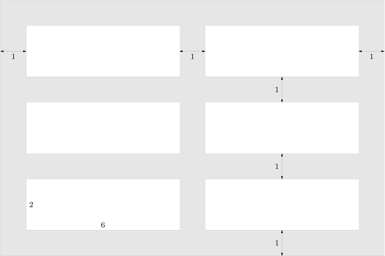 """[asy] draw((0,0)--(0,10)--(15,10)--(15,0)--cycle); fill((0,0)--(0,10)--(15,10)--(15,0)--cycle, lightgray); draw((1,1)--(1,3)--(7,3)--(7,1)--cycle); fill((1,1)--(1,3)--(7,3)--(7,1)--cycle, white); draw((1,4)--(1,6)--(7,6)--(7,4)--cycle); fill((1,4)--(1,6)--(7,6)--(7,4)--cycle, white); draw((1,7)--(1,9)--(7,9)--(7,7)--cycle); fill((1,7)--(1,9)--(7,9)--(7,7)--cycle, white); draw((8,1)--(8,3)--(14,3)--(14,1)--cycle); fill((8,1)--(8,3)--(14,3)--(14,1)--cycle, white); draw((8,4)--(8,6)--(14,6)--(14,4)--cycle); fill((8,4)--(8,6)--(14,6)--(14,4)--cycle, white); draw((8,7)--(8,9)--(14,9)--(14,7)--cycle); fill((8,7)--(8,9)--(14,9)--(14,7)--cycle, white); defaultpen(fontsize(8, lineskip=1)); label(""""2"""", (1.2, 2)); label(""""6"""", (4, 1.2)); defaultpen(linewidth(.2)); draw((0,8)--(1,8), arrow=Arrows); draw((7,8)--(8,8), arrow=Arrows); draw((14,8)--(15,8), arrow=Arrows); draw((11,0)--(11,1), arrow=Arrows); draw((11,3)--(11,4), arrow=Arrows); draw((11,6)--(11,7), arrow=Arrows); label(""""1"""", (.5,7.8)); label(""""1"""", (7.5,7.8)); label(""""1"""", (14.5,7.8)); label(""""1"""", (10.8,.5)); label(""""1"""", (10.8,3.5)); label(""""1"""", (10.8,6.5)); [/asy]"""