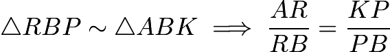 $\triangle RBP \sim \triangle ABK \implies \frac{AR}{RB}=\frac{KP}{PB}$