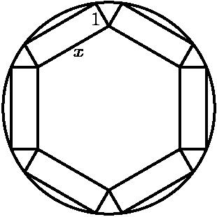 "[asy]unitsize(4mm); defaultpen(linewidth(.8)+fontsize(8)); draw(Circle((0,0),4)); path mat=(-2.687,-1.5513)--(-2.687,1.5513)--(-3.687,1.5513)--(-3.687,-1.5513)--cycle; draw(mat); draw(rotate(60)*mat); draw(rotate(120)*mat); draw(rotate(180)*mat); draw(rotate(240)*mat); draw(rotate(300)*mat); label(""\(x\)"",(-1.55,2.1),E); label(""\(1\)"",(-0.5,3.8),S);[/asy]"