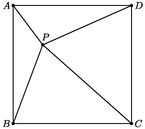"""[asy] unitsize(120); pair B = (0, 0), A = (0, 1), D = (1, 1), C = (1, 0), P = (1/4, 2/3); draw(A--B--C--D--cycle); dot(P); defaultpen(fontsize(10pt)); draw(A--P--B); draw(C--P--D); label(""""$A$"""", A, W); label(""""$B$"""", B, W); label(""""$C$"""", C, E); label(""""$D$"""", D, E); label(""""$P$"""", P, N*1.5+E*0.5); dot(A); dot(B); dot(C); dot(D); [/asy]"""