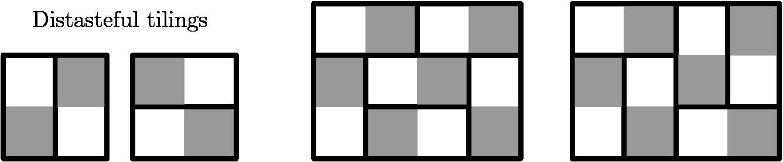 "[asy] size(400); pathpen = linewidth(2.5); void chessboard(int a, int b, pair P){ for(int i = 0; i < a; ++i) for(int j = 0; j < b; ++j) if((i+j)% 2 == 1) fill(shift(P.x+i,P.y+j)*unitsquare,rgb(0.6,0.6,0.6)); D(P--P+(a,0)--P+(a,b)--P+(0,b)--cycle); } chessboard(2,2,(2.5,0));fill(unitsquare,rgb(0.6,0.6,0.6));fill(shift(1,1)*unitsquare,rgb(0.6,0.6,0.6)); chessboard(4,3,(6,0)); chessboard(4,3,(11,0)); MP(""\mathrm{Distasteful\ tilings}"",(2.25,3),fontsize(12)); /* draw lines */ D((0,0)--(2,0)--(2,2)--(0,2)--cycle); D((1,0)--(1,2)); D((2.5,1)--(4.5,1)); D((7,0)--(7,2)--(6,2)--(10,2)--(9,2)--(9,0)--(9,1)--(7,1)); D((8,2)--(8,3)); D((12,0)--(12,2)--(11,2)--(13,2)); D((13,1)--(15,1)--(14,1)--(14,3)); D((13,0)--(13,3)); [/asy]"