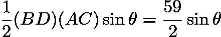 $\frac{1}{2}(BD)(AC)\sin\theta = \frac{59}{2}\sin\theta$