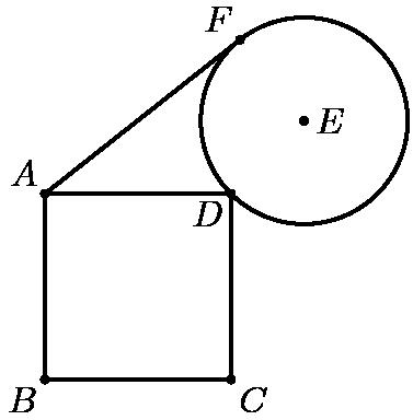 """[asy]unitsize(6mm); defaultpen(linewidth(.8pt)+fontsize(10pt)); dotfactor=3; pair B=(0,0), C=(3,0), D=(3,3), A=(0,3); pair Ep=(3+5*sqrt(2)/6,3+5*sqrt(2)/6); pair F=intersectionpoints(Circle(A,sqrt(9+5*sqrt(2))),Circle(Ep,5/3))[0]; pair[] dots={A,B,C,D,Ep,F}; draw(A--F); draw(Circle(Ep,5/3)); draw(A--B--C--D--cycle); dot(dots); label(""""$A$"""",A,NW); label(""""$B$"""",B,SW); label(""""$C$"""",C,SE); label(""""$D$"""",D,SW); label(""""$E$"""",Ep,E); label(""""$F$"""",F,NW); [/asy]"""