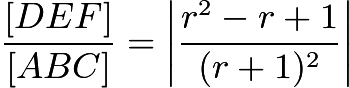 $\frac{[DEF]}{[ABC]}=\left|\frac{r^2-r+1}{(r+1)^2}\right|$