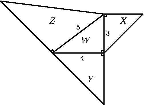 """[asy]/* AMC8 2002 #16 Problem */ draw((0,0)--(4,0)--(4,3)--cycle); draw((4,3)--(-4,4)--(0,0)); draw((-0.15,0.1)--(0,0.25)--(.15,0.1)); draw((0,0)--(4,-4)--(4,0)); draw((4,0.2)--(3.8,0.2)--(3.8,-0.2)--(4,-0.2)); draw((4,0)--(7,3)--(4,3)); draw((4,2.8)--(4.2,2.8)--(4.2,3)); label(scale(0.8)*""""$Z$"""", (0, 3), S); label(scale(0.8)*""""$Y$"""", (3,-2)); label(scale(0.8)*""""$X$"""", (5.5, 2.5)); label(scale(0.8)*""""$W$"""", (2.6,1)); label(scale(0.65)*""""5"""", (2,2)); label(scale(0.65)*""""4"""", (2.3,-0.4)); label(scale(0.65)*""""3"""", (4.3,1.5));[/asy]"""