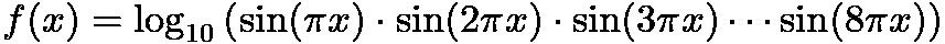 $f(x) = \log_{10} \left(\sin(\pi x) \cdot \sin(2 \pi x) \cdot \sin (3 \pi x) \cdots \sin(8 \pi x)\right)$