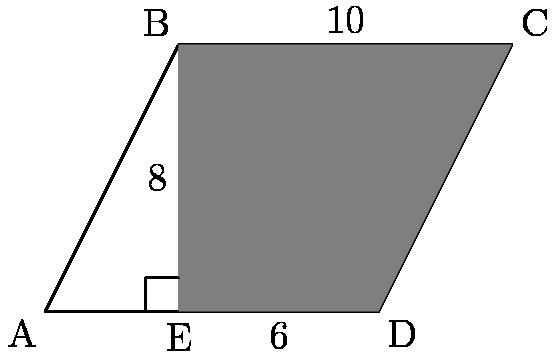 "[asy] unitsize(10); pair A,B,C,D,E; A=origin; B=(4,8); C=(14,8); D=(10,0); E=(4,0); draw(A--B--C--D--cycle); fill(B--E--D--C--cycle,gray); label(""A"",A,SW); label(""B"",B,NW); label(""C"",C,NE); label(""D"",D,SE); label(""E"",E,S); label(""$10$"",(9,8),N); label(""$6$"",(7,0),S); label(""$8$"",(4,4),W); draw((3,0)--(3,1)--(4,1)); [/asy]"