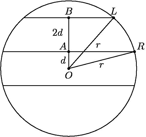 "[asy] size(6cm); pair O = (0, 4), A = (0, 5), B = (0, 7), R = (3.873, 5), L = (2.645, 7); draw(O--A--B); draw(O--R); draw(O--L); label(""$A$"", A, NW); label(""$B$"", B, N); label(""$R$"", R, NE); label(""$L$"", L, N); label(""$O$"", O, S); label(""$d$"", O--A, W); label(""$2d$"", A--B, W*2+0.5*N); label(""$r$"", O--R, S); label(""$r$"", O--L, S*0.5 + 1.5 * E); dot(O); dot(A); dot(B); dot(R); dot(L); draw(circle((0, 4), 4)); draw((-3.873, 3) -- (3.873, 3)); draw((-3.873, 5) -- (3.873, 5)); draw((-2.645, 7) -- (2.645, 7)); [/asy]"