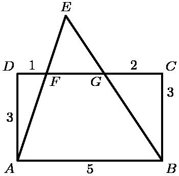 """[asy] unitsize(6mm); defaultpen(linewidth(.8pt)+fontsize(8pt)); pair A=(0,0), B=(5,0), C=(5,3), D=(0,3), F=(1,3), G=(3,3); pair E=extension(A,F,B,G); draw(A--B--C--D--A--E--B); label(""""$A$"""",A,SW); label(""""$B$"""",B,SE); label(""""$C$"""",C,NE); label(""""$D$"""",D,NW); label(""""$E$"""",E,N); label(""""$F$"""",F,SE); label(""""$G$"""",G,SW); label(""""$B$"""",B,SE); label(""""1"""",midpoint(D--F),N); label(""""2"""",midpoint(G--C),N); label(""""3"""",midpoint(B--C),E); label(""""3"""",midpoint(A--D),W); label(""""5"""",midpoint(A--B),S); [/asy]"""