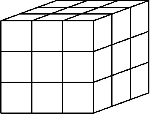 [asy] draw((1.8,3.66)--(0,3)--(0,0)); draw((2.8,3.66)--(1,3)--(1,0)); draw((3.8,3.66)--(2,3)--(2,0)); draw((4.8,3.66)--(3,3)--(3,0)); draw((0,0)--(3,0)--(4.8,0.66)); draw((0,1)--(3,1)--(4.8,1.66)); draw((0,2)--(3,2)--(4.8,2.66)); draw((0,3)--(3,3)--(4.8,3.66)); draw((0,3)--(3,3)--(3,0)); draw((0.6,3.22)--(3.6,3.22)--(3.6,0.22)); draw((1.2,3.44)--(4.2,3.44)--(4.2,0.44)); draw((1.8,3.66)--(4.8,3.66)--(4.8,0.66)); [/asy]