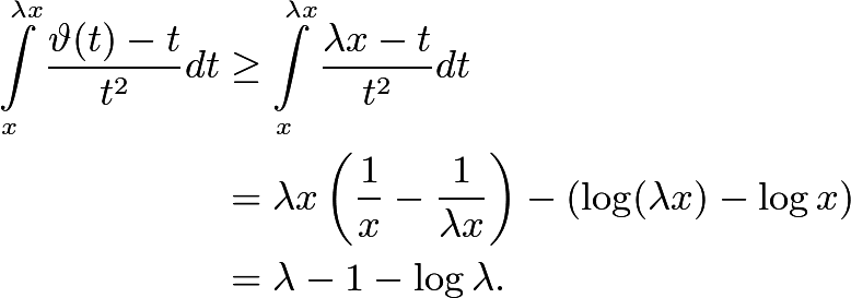 \begin{align*} \int\limits_x^{\lambda{x}} \frac{\vartheta(t) -t}{t^2} dt&\ge \int\limits_x^{\lambda{x}} \frac{\lambda x - t}{t^2}dt \\ &= \lambda x \left( \frac{1}{x} - \frac{1}{\lambda x} \right)- \left(\log (\lambda x) - \log x\right) \\ &= \lambda -1 - \log \lambda . \end{align*}
