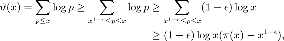 \begin{align*} \vartheta(x) = \sum_{p\le x} \log p \ge \sum_{x^{1-\epsilon} \le p \le x} \log p &\ge \sum_{x^{1-\epsilon}\le p \le x} (1-\epsilon) \log x \\ &\ge (1-\epsilon) \log x ( \pi(x) - x^{1-\epsilon} ) , \end{align*}