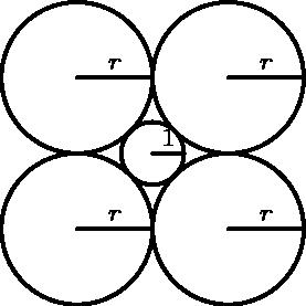"""[asy] unitsize(3mm); defaultpen(linewidth(.8pt)+fontsize(7pt)); dotfactor=4; real r1=1, r2=1+sqrt(2); pair A=(0,0), B=(1+sqrt(2),1+sqrt(2)), C=(-1-sqrt(2),1+sqrt(2)), D=(-1-sqrt(2),-1-sqrt(2)), E=(1+sqrt(2),-1-sqrt(2)); pair A1=(1,0), B1=(2+2sqrt(2),1+sqrt(2)), C1=(0,1+sqrt(2)), D1=(0,-1-sqrt(2)), E1=(2+2sqrt(2),-1-sqrt(2)); path circleA=Circle(A,r1); path circleB=Circle(B,r2); path circleC=Circle(C,r2); path circleD=Circle(D,r2); path circleE=Circle(E,r2); draw(circleA); draw(circleB); draw(circleC); draw(circleD); draw(circleE); draw(A--A1); draw(B--B1); draw(C--C1); draw(D--D1); draw(E--E1); label(""""$1$"""",midpoint(A--A1),N); label(""""$r$"""",midpoint(B--B1),N); label(""""$r$"""",midpoint(C--C1),N); label(""""$r$"""",midpoint(D--D1),N); label(""""$r$"""",midpoint(E--E1),N); [/asy]"""