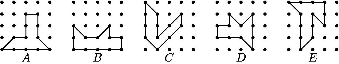 "[asy] size(330); int i,j,k; for(i=0;i<5; i=i+1) { for(j=0;j<5;j=j+1) { for(k=0;k<5;k=k+1) { dot((6i+j, k)); }}} draw((0,0)--(4,0)--(3,1)--(3,3)--(2,3)--(2,1)--(1,1)--cycle); draw(shift(6,0)*((0,0)--(4,0)--(4,1)--(3,1)--(3,2)--(2,1)--(1,1)--(0,2)--cycle)); draw(shift(12,0)*((0,1)--(1,0)--(3,2)--(3,3)--(1,1)--(1,3)--(0,4)--cycle)); draw(shift(18,0)*((0,1)--(2,1)--(3,0)--(3,3)--(2,2)--(1,3)--(1,2)--(0,2)--cycle)); draw(shift(24,0)*((1,0)--(2,1)--(2,3)--(3,2)--(3,4)--(0,4)--(1,3)--cycle)); label(""$A$"", (0*6+2, 0), S); label(""$B$"", (1*6+2, 0), S); label(""$C$"", (2*6+2, 0), S); label(""$D$"", (3*6+2, 0), S); label(""$E$"", (4*6+2, 0), S);[/asy]"